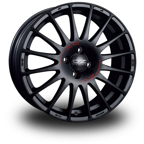 OZ Superturismo GT Black MATT BLACK RED LETTERING 16""