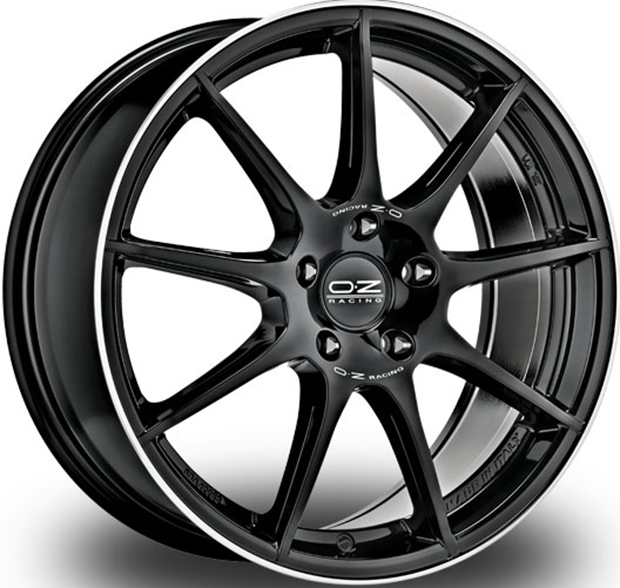 OZ Veloce GT GLOSS BLACK+DIAMOND LIP+SILVER LETTERING 17""
